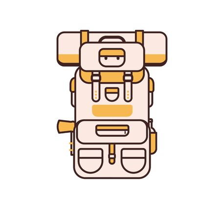 Tourist Hiking Backpack Vector Icon in Line Art Archivio Fotografico - 128201043
