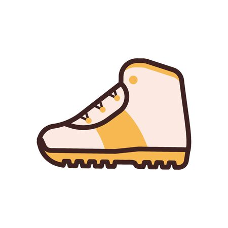 Tourist Hiking Boot Icon in Line Art