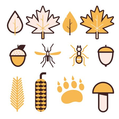 Forest Life Vector Icons in Line Art Ilustracja