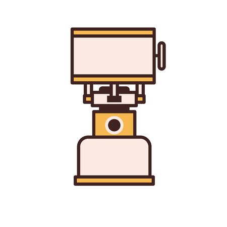Camping Gas Stove Vector Icon in Line Art