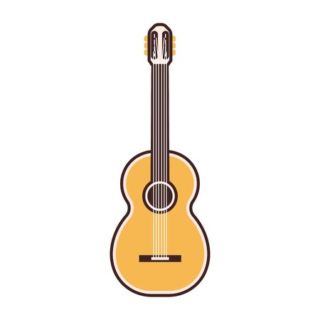 Flat Guitar Vector Icon in Line Art Ilustracja