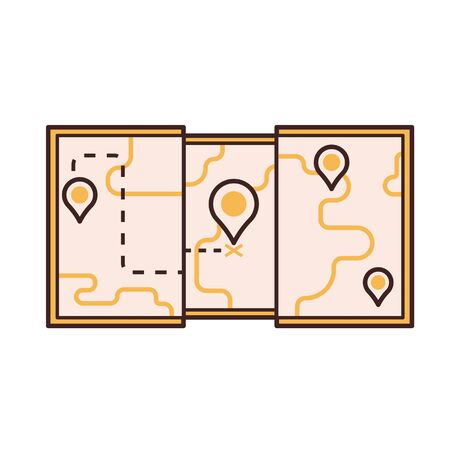 Tourist Map Vector Icon in Line Art Illustration