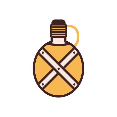 Tourist Camping Flask Bottle Line Monochrome Icon