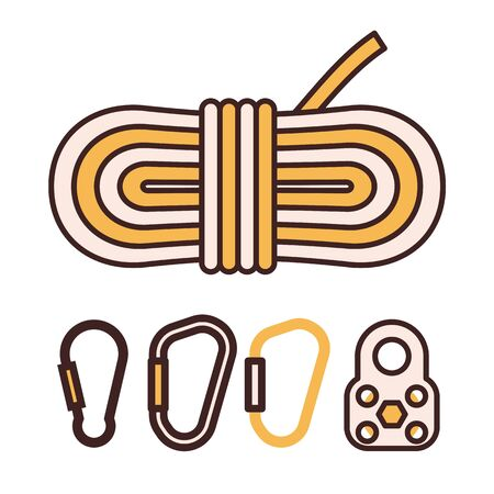 Climbing Rope and Carabiner Mountaineering Line Icons Ilustracja