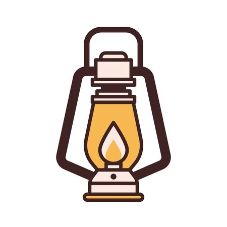 Tourist Hiking Lantern Vector Icon in Line Art Ilustracja