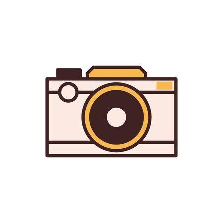 Retro Film Camera Icon in Line Art Archivio Fotografico - 128616851