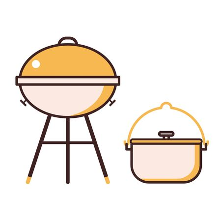 Barbecue Grill and BBQ Pot Line Icons