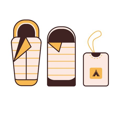 Camping Sleeping Bag Vector Icon in Line Art