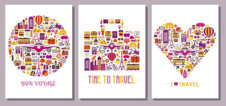 Summer Travel Around the World Cards Templates 版權商用圖片 - 128616864