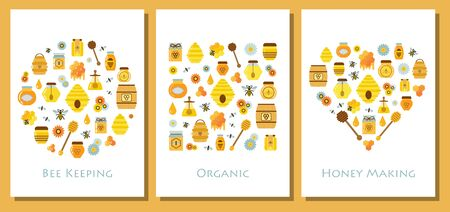 Apiary and beekeeping cards stylized in shapes of square, heart and circle. Organic honey making t-shirt print patterns with eco honey products and elements in flat design. Archivio Fotografico - 128378435