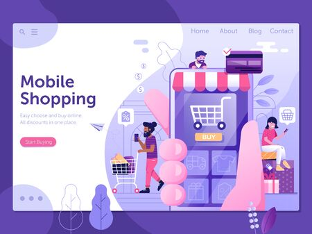 Mobile Shopping People Web Landing Page Template