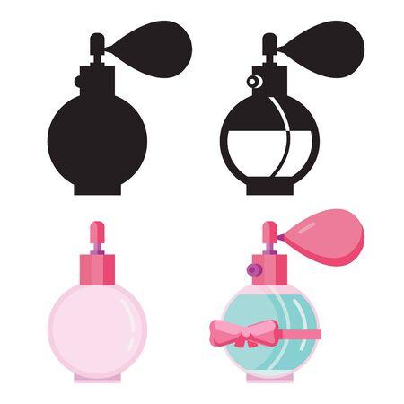Eau de toilette dans les icônes plates de la bouteille de parfum