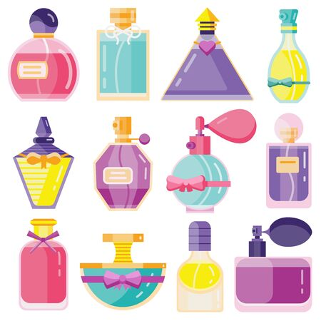 Perfume Toilet Water Bottles in Flat Design Ilustrace