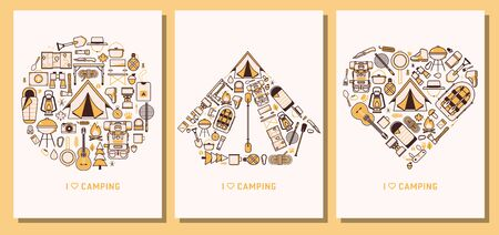 I Love Camping and Hiking Line Cards