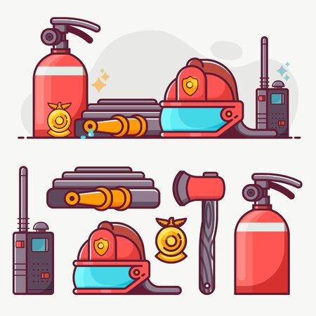 Fire Fighting Department Line Art Icon Set Ilustrace