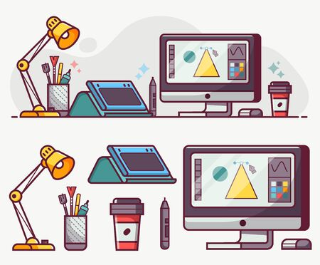 Digital Designer or Illustrator Lifestyle Line Icons Ilustrace