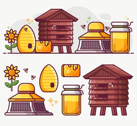 Beekeeping and Apiary Line Art Icon Set