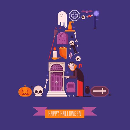 Happy halloween card with vampire, ghosts, tombs, bats and pumpkins. Halloween icons and gothic elements stylized in witch hat shape. Horror night t-shirt print pattern in flat design.