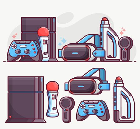 Augmented Virtual Reality Gaming Line Art Icons