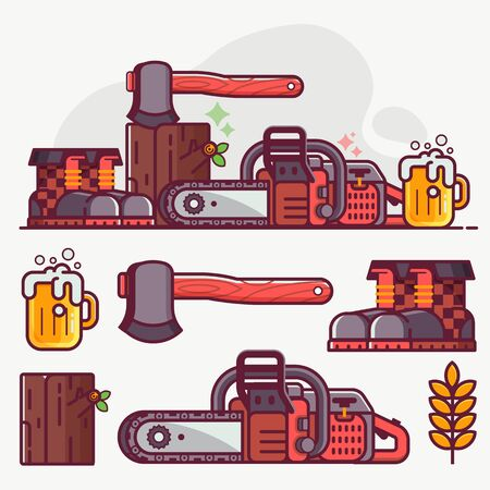 Forestry and tree surgeon icon set with lumberjack lifestyle equipment and logger tools. Chainsaw, woodcutter boots, log and hatchet. Logging concept with woodcutting icons and elements in flat style.