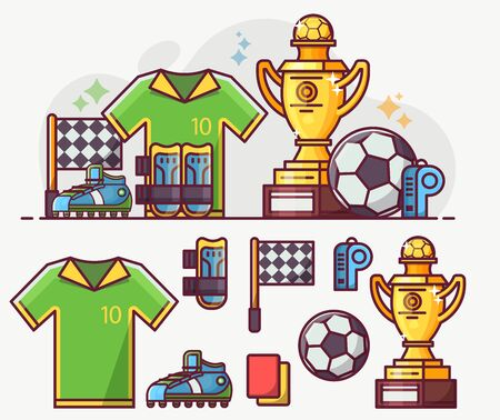 Football and Soccer Line Art Icons Set