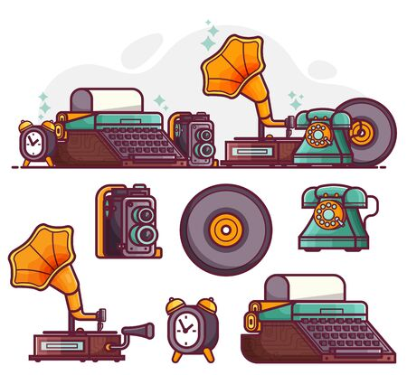 Vintage Things and Objects Line Art Icons