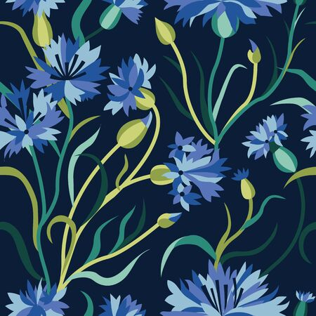 Cornflower seamless pattern with blooming blue cornflowers, flower buds and green stalk leaves. Floral blossom design. Field flower ornament on dark background for prints, fabric and wrapping paper.