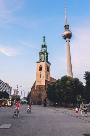 Fernsehturm Television Tower and st. Marys Church