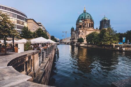 Berlin Cathedral Church and Spree River by Evening