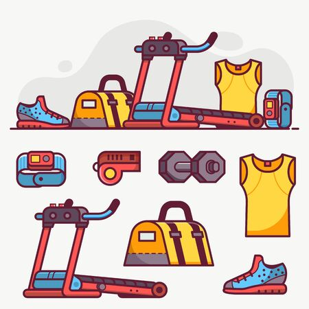 Fitness and running icon set with sport run equipment and accessories. Treadmill, bag, wristwatch and jogging boots icons. Sports and activity concept in flat design. Ilustrace