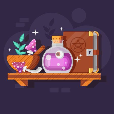 Magic Potion Bottle with Ingredients and Spellbook Ilustrace
