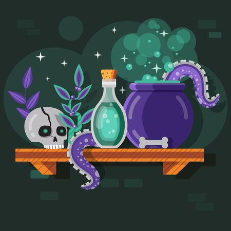 Magic Potion Bottle and Boiling Cauldron Scene