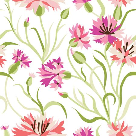 Cornflower seamless pattern with blooming pink cornflowers, flower buds and green stalk leaves. Floral blossom design. Field flower ornament on white background for prints, fabric and wrapping paper.