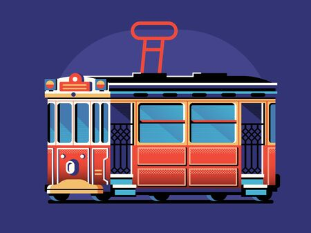 Istanbul Retro Red Tram in Flat Design