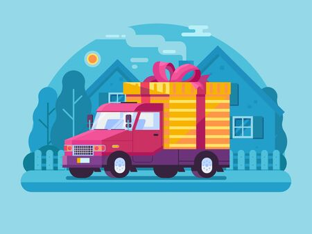 Auto Shipping Deliver Van with Parcel Scene