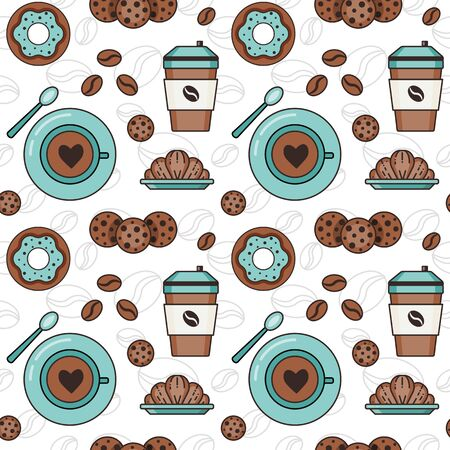 Coffee pattern with beans, coffee to go and in cups, croissants, doughnuts and and cookies. Seamless background with pastry, coffeehouse and cafe elements for prints, fabric and gift wrapping paper. Illustration