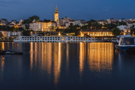 Belgrade Lights Night Panoramic View from Riverbank
