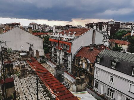 Belgrade Aged Rooftops in Dorcol Panoramic View 에디토리얼