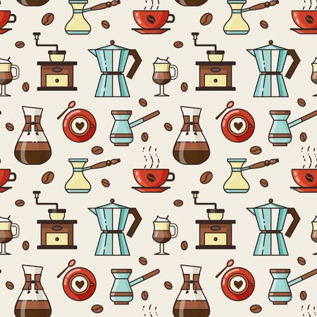 Coffee pattern with coffee cups, spoons, beans, vintage grinder, turkish kettles and arabic pots. Seamless background with coffeehouse and cafe elements for prints, fabric and gift wrapping paper.