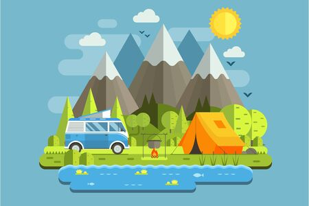 Mountain camping travel landscape with rv camper bus in flat design. Campsite place in forest lake area. Summer camp place with traveler van illustration. National park auto trip campground. Vettoriali