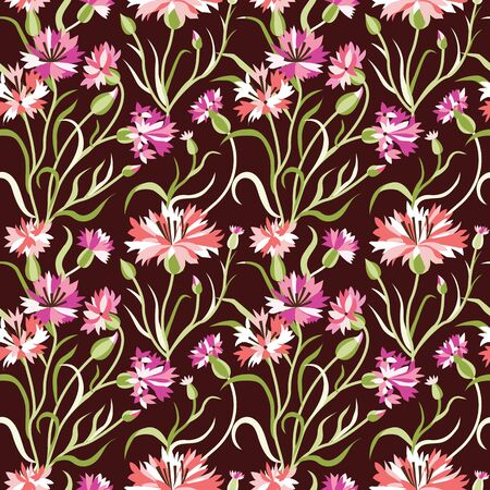 Dark Seamless Floral Pattern with Pink Cornflowers
