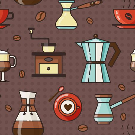 Coffee Pattern with Cups Grinder and Pots Vettoriali