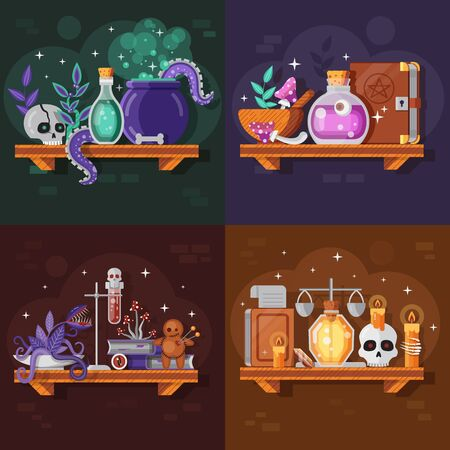Magic potion bottles with ingredients, spell books and witch stuff. Alchemist or wizard laboratory scenes with glass elixirs or poison drinks, cauldron, sculls and candles. Alchemistry game concepts.