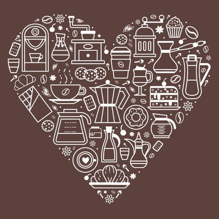 Coffee, pastry and bakery print template in heart shape. Thin line design elements for coffee house and shop menu. Drinks to go, spices and desserts. Grinder, moka pot, cookies, muffin and latte.