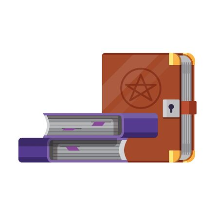 Witchery spell books icon. Cartoon style illustration of grimoire textbook of magic and occult witchcraft tomes.