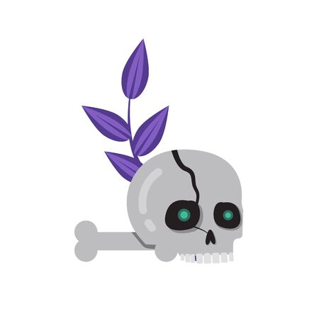 Bone Magic Ritual Cracked Scull Flat Icon