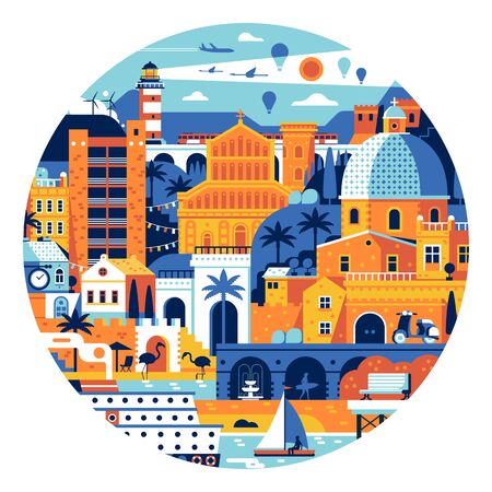 Summer Mediterranean Town Circle Poster or Print