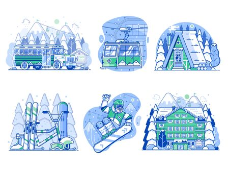 Winter Active Holidays Ski Resort Vacation Icons 일러스트