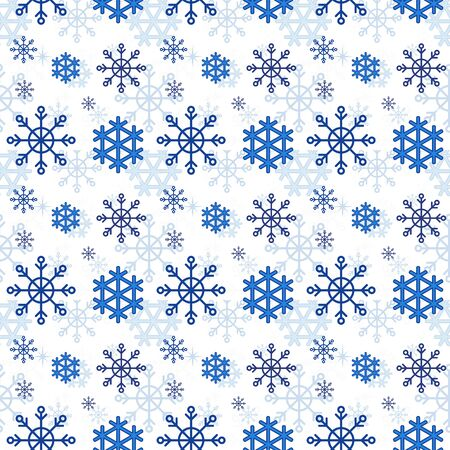 Winter Pattern with Blue Snowflakes in Flat 일러스트