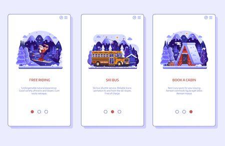 Écrans d'intégration de l'application mobile de la station de ski d'hiver